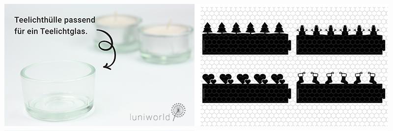 Glasgefäß und Plotterdatei für Teelichter