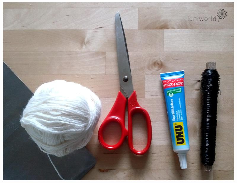 Material und Werkzeug Wollpüppchen