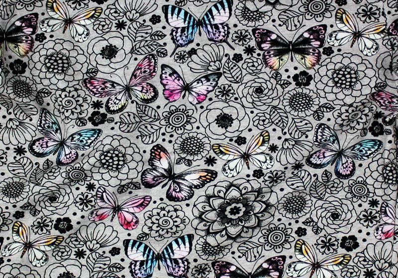 Baumwollstoff von Fräulein von Julie mit Schmetterlingen