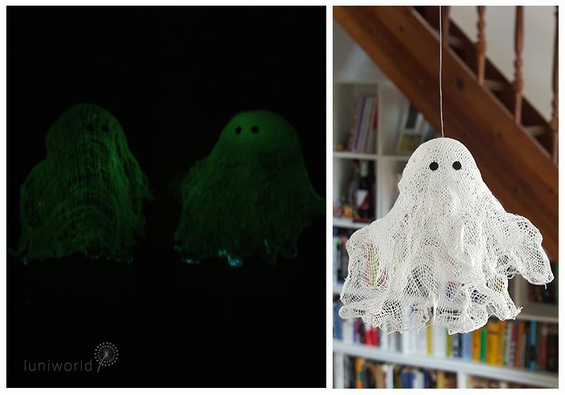 fluoreszierende Geister aus Wäschestärke