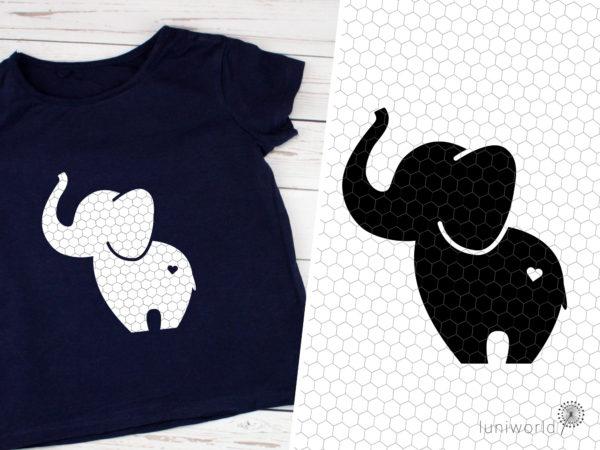 Plotterdatei Elefant mit Herz auf dem Po