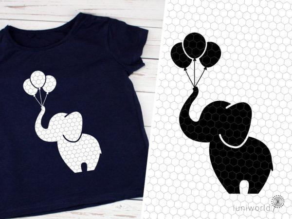 Plotterdatei Elefant mit Luftballons