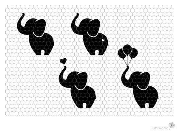 Plotterdatei niedliche Elefanten
