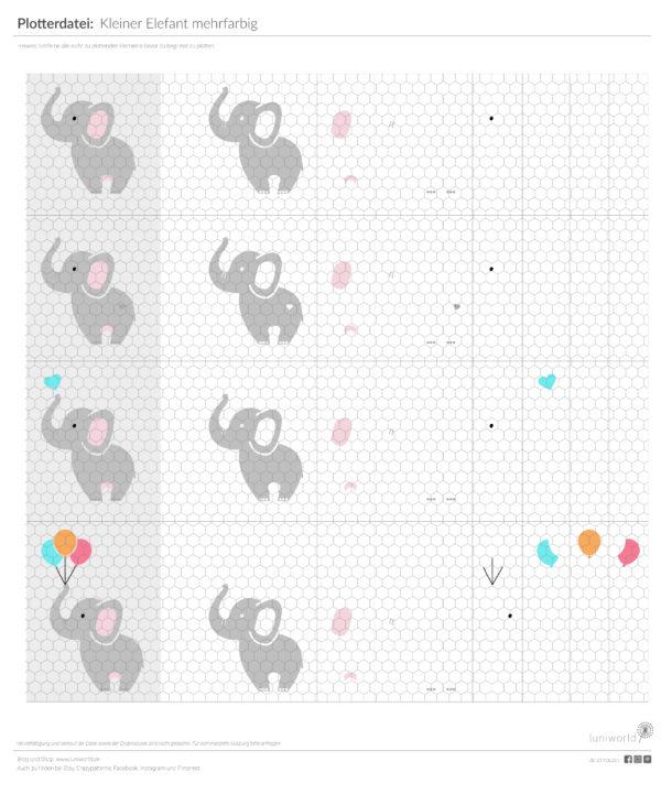 Kleine, niedliche Elefanten als mehrfarbiger Plott