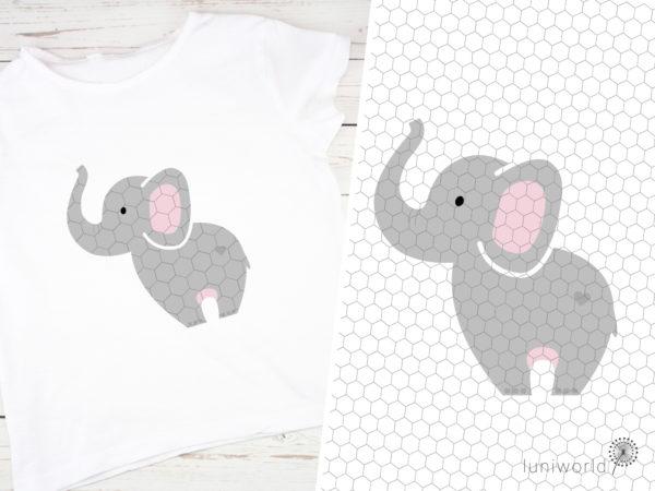 Niedlicher Elefant mit Herz am Po als Plotterdatei