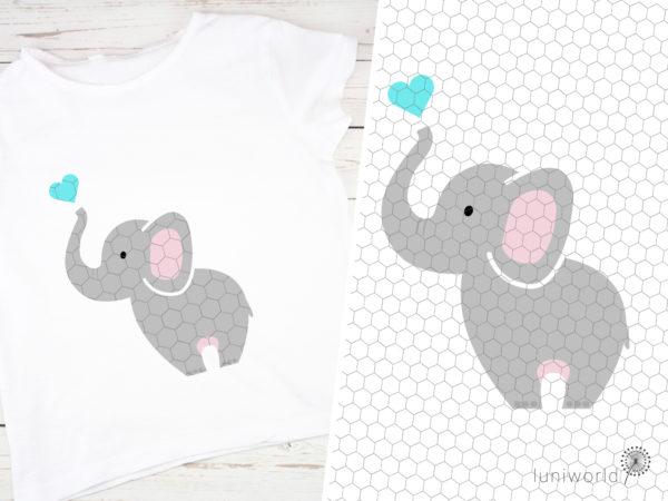 Niedlicher Elefant mit Herz über dem Rüssel als Plotterdatei