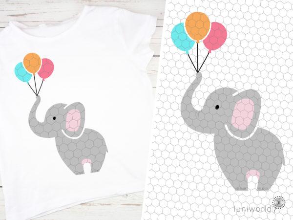 Niedlicher Elefant mit Luftballonsl als Plotterdatei