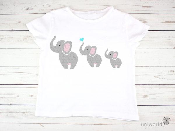 Kleine Elefantenfamilie als Plotterdatei